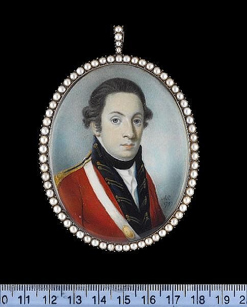 Alexander Gallaway (Scottish, active circa 1794-1812) An Officer, wearing scarlet coatee with gold figured blue facings, gold epaulette, white sword belt with gold belt plate, black stock and white cravat