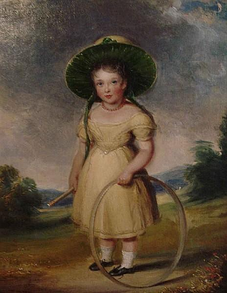 William Derby (British, 1786-1847) Young girl with hoop
