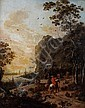 Circle of Jan Gabrielsz. Sonje (Delft circa 1625-1707 Rotterdam) Travellers on a country path before an Italianate coastal landscape, Jan. Gabrielsz. Sonje, Click for value