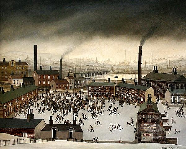 Brian Shields (Braaq) (British, 1951-1997) Industrial landscape with figures before factories and houses and viaduct beyond,