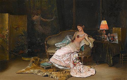Rogelio de Egusquiza (Spanish, 1845-1915) A reverie during the ball 55 x 85 cm. (21 1/2 x 33 1/2 in.)