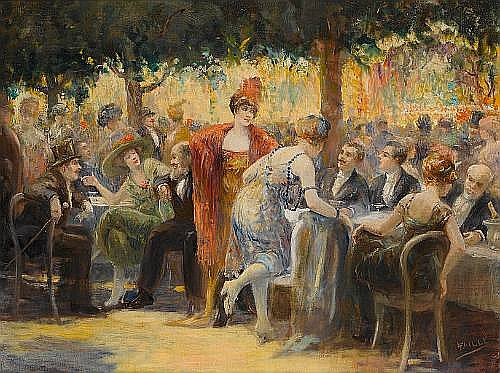 Louis Faille (French, born after 1878-died after 1964) The garden party 67.5 x 90 cm. (26 1/2 x 35 1/2 in.)