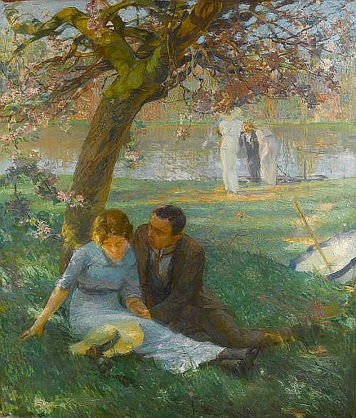 André Lagrange (French, 1889-1958) Springtime, a triptych 195 x 336 cm. (76 3/4 x 132 1/4 in.) overall