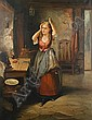 James Stephenson Craig (British, active 1854-1870) A young woman in an interior trying on ribbons, James Stephenson Craig, Click for value