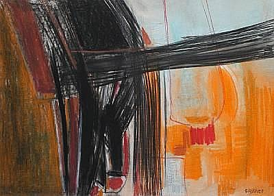 Charles (Carel Antoon) Gassner (South African, 1915-1977) Abstract, black and orange