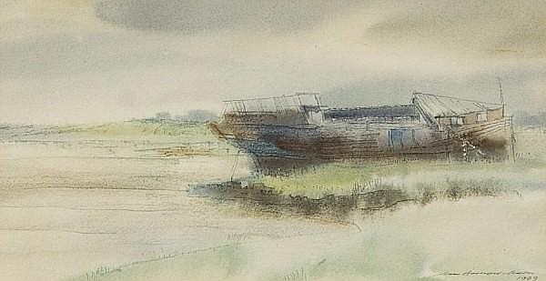 Ian Armour-Chelu (British, Contemporary) Beached houseboat at Aldeburgh