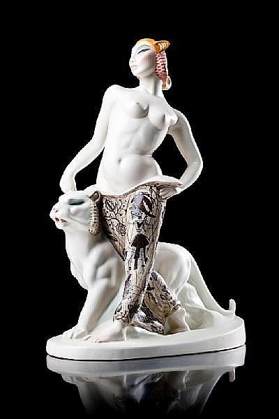 Sandro Vacchetti for Lenci 'Le Due Tigri' An Impressive Ceramic Study, circa 1930