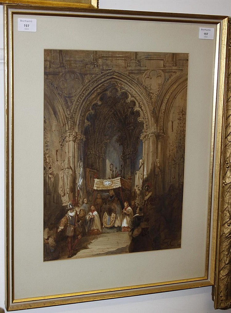 William Lake Price (British, 1810-1891) Ceremonial procession inside a cathedral
