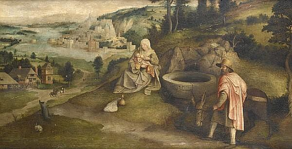 Jan Massys (Antwerp circa 1505-circa 1575), and Cornelis Massys (Antwerp circa 1510-circa 1580) The Rest on the Flight into Egypt
