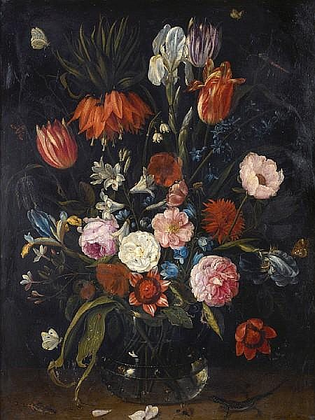 Jan van Kessel the Elder (Antwerp 1626-1679) A still life of tulips, a crown imperial, snowdrops, lilies, irises, roses and other flowers in a glass vase with a lizard, butterflies, a dragonfly and other insects