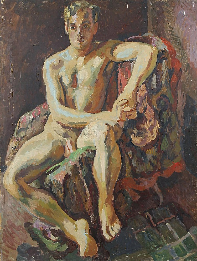 Duncan Grant (British, 1885-1978) Portrait of a male nude seated on a chair covered with drapery unframed