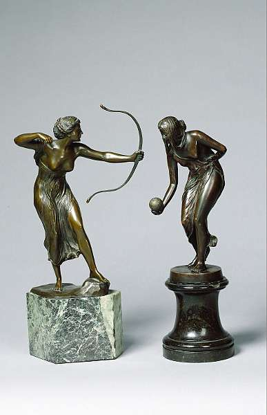 Georges Morin, (German, b. 1874): An early 20th century bronze Figure of a female archer