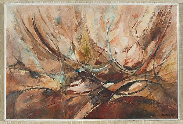 Paul du Toit (South African, 1922-1986) Abstract in brown 60.5 x 90cm (23¾ x 35½in)