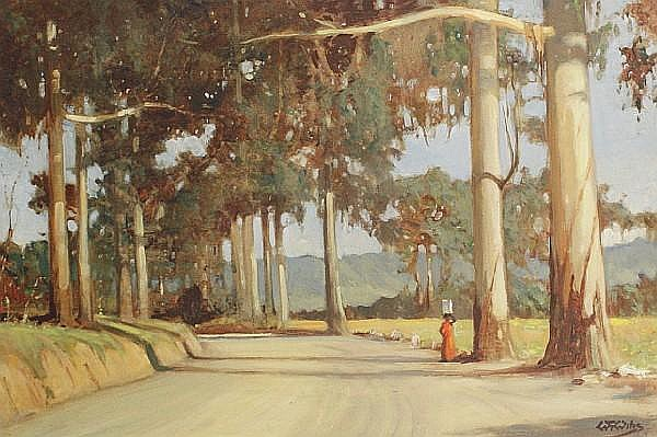 Walter Gilbert Wiles (South African, 1875-1966) Figure on a tree-lined road