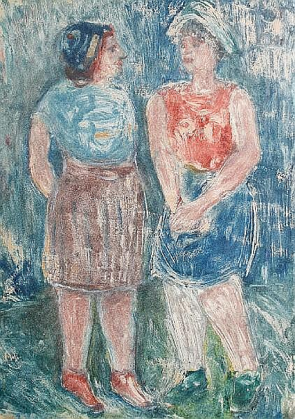 Israel Isaac (Lippy) Lipschitz (South African, 1903-1980) Two women standing in a field (S) 53.5 x 40cm (21 1/16 x 15 3/4in).