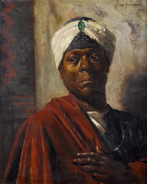 Charles van Havermaet (Flemish, active 1895-1911) Portrait of a Nubian prince