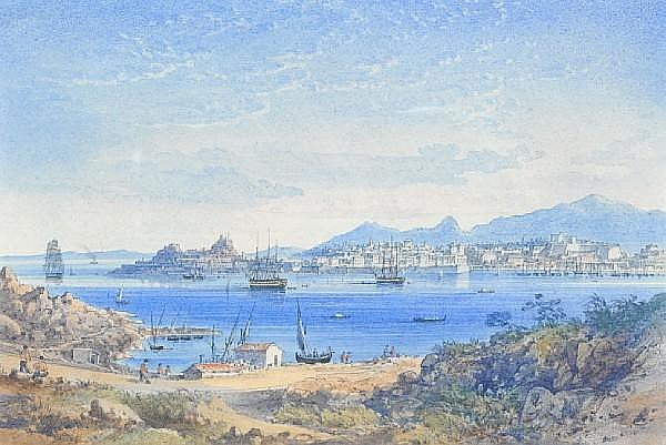 Anton Schranz (German, 1769-1839) View of a harbour, Corfu