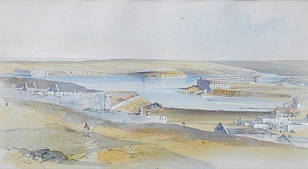 Lieutenant-General Gaspard Le Marchant Tupper (British, 1826-1906) 'Fort Catherine and Fort Nicholas' and 'View of Sebastopol', a pair one 14 x 25.5cm (5 1/2 x 10 1/16in); the other 15.5 x 25cm (6 1/8 x 9 13/16in)
