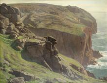 Harold Knight, RA, ROI, RP (British, 1874-1961) Clifftop view near Sennen, Cornwall