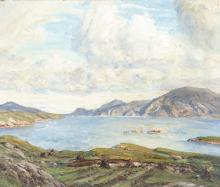 Herbert F. Royle (British, 1870-1958) Loch view, possibly Harris