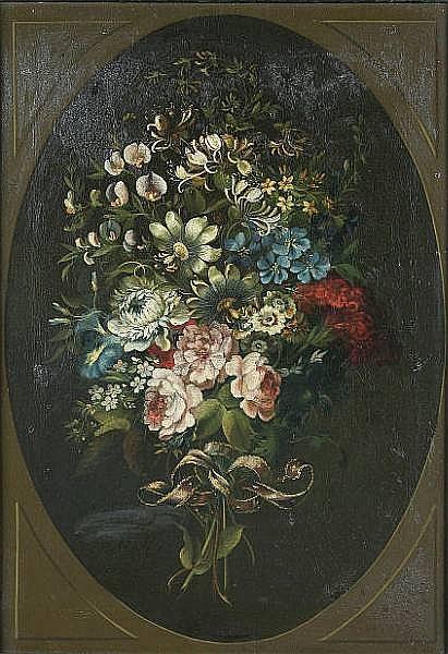 James Lambert Junior (Lewes 1741-1799 London) Floral still life depicting honeysuckle oil on canvas, (relined) 55cm x 85cm