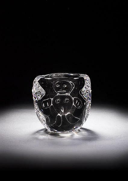 Bengt Edenfalk (Swedish, born 1924) 'Talatta' a Vase of smokey glass cased in clear glass, circa 1960