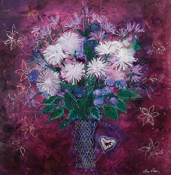 Ann Oram, RSW (British, born 1956) 'White chrysanthemum and little heart'