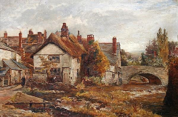 John Whipple (British, active 1873-1896) Okehampton, Devon, Village by a river,