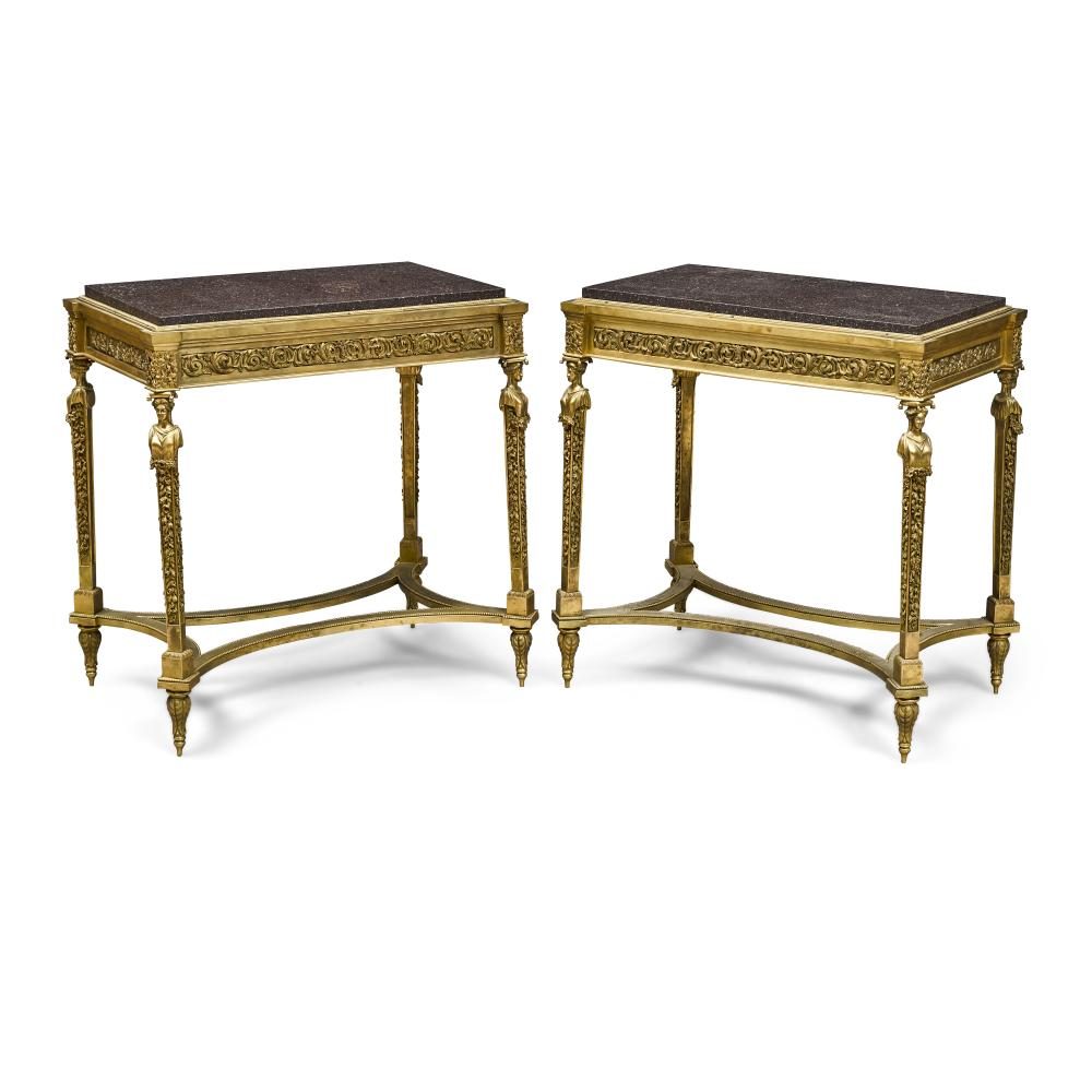 A PAIR OF LOUIS XVI STYLE GRANITE TOP BRONZE TABLESIn the manner of Adam Weisweiler, last quarter 19th century