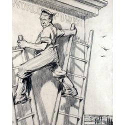 Louis Raemaekers (Dutch,1869-1956) Fritz Climbing for World Power signed, inscribed on reverse, charcoal 34.5 x 28 cm.