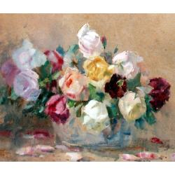 William Thomas Wood (British, 1877-1958) A bouquet of roses signed and dated 1941, watercolour 36 x 42.5 cm