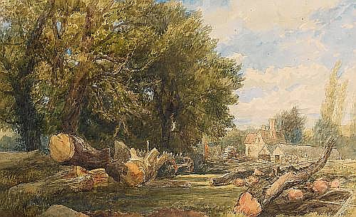 Thomas Collier (British, 1840-1891) Storing timber near Arundel