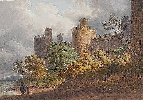 Circle of Paul Sandby Munn (British, 1773-1845) Fourteen views of houses and castles in Wales, including views of Conway Castle and Carnarvon Castle each 15.5 x 19cm. (5 x 8in.) unframed