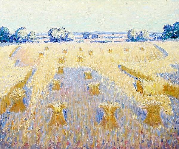 Norman Lloyd (Australian, 1897-1985) Summer fields with haystacks
