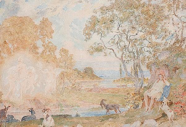 William Herbert Allen (British, born 1863) Sleeping shepherdess with goats