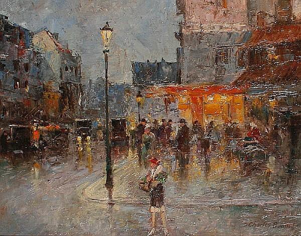 Charles Bonnet (20th Century) Paris street scene
