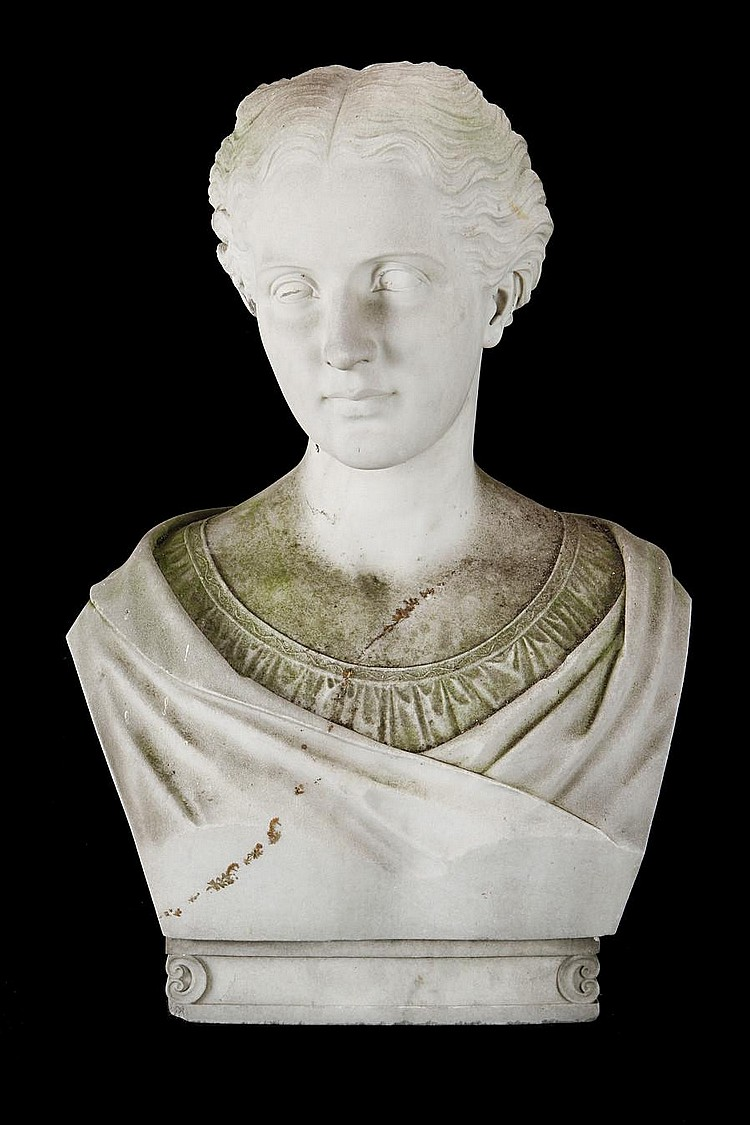 John Warrington Wood (British, 1839-1886) A Carrara marble bust of a Grecian maiden signed and dated Roma 1868