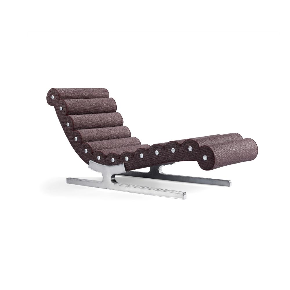 French Chaise Longuecirca 1960chromed metal, upholstery, apparently unmarkedheight 32in (81cm); width 23 1/2in (60cm) length 71in (180cm)