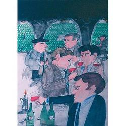 Paul Hogarth (British, 1917-), Tasting in the cellar, pencil and watercolour, signed and inscribed, 48 x 35.5 cm, with 3 others similar