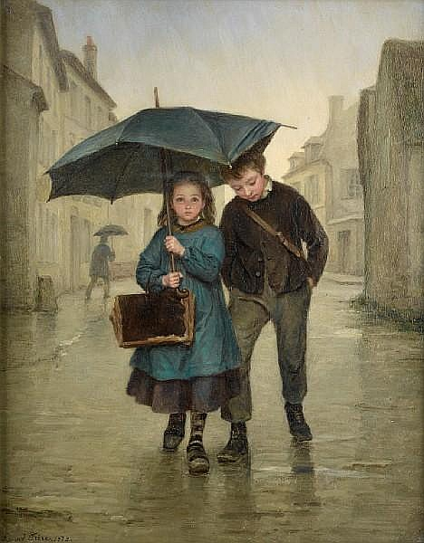 Pierre Edouard Frère (French, 1819-1886), Going to school