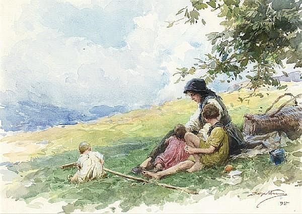 Achille Beltrame (Italian, 1871-1945) A moment's rest