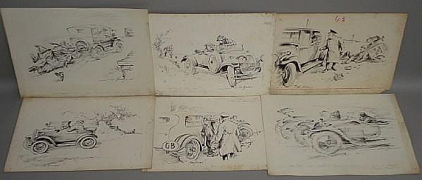 Bert Thomas (British, 1883-1966) a selection of cartoons of motoring interest,
