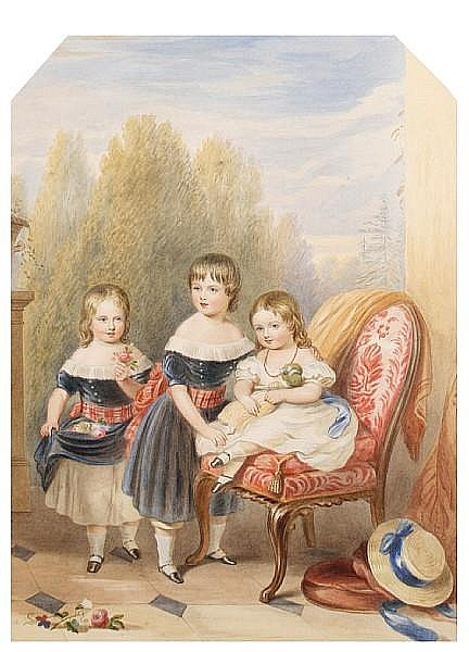 Robert Dowling (British, 1827-1886) The three eldest children of Frederick John Howard M.P. (1814-1897) and his wife Lady Fanny Cavendish: William and George, standing and wearing blue dresses with gold buttons, white concertina collars and red
