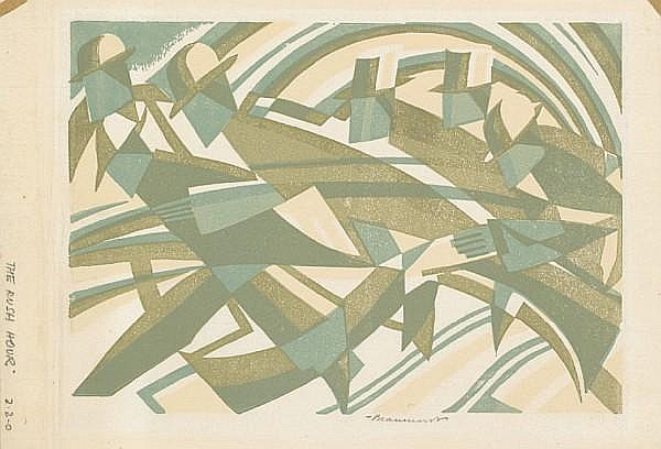 Leonard Beaumont (British, 1891-1986) The Rush Hour Linocut, 1934, printed in colours, on thin laid japan, the full sheet, signed and titled in pencil, 194 x 283mm (7 5/8 x 11 1/8in)(I)