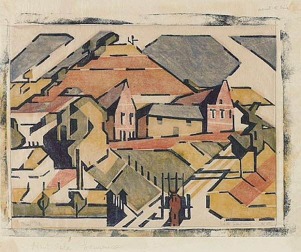 Edith Lawrence (British, 1890-1973) Haut Isle Linocut, in colours, on tissue thin japan, signed, titled and numbered 8/50 in pencil, 192 x 250mm (7 5/8 x 9 7/8in)(B), together with four linocuts of reclining nudes, two in black, two in brown, on