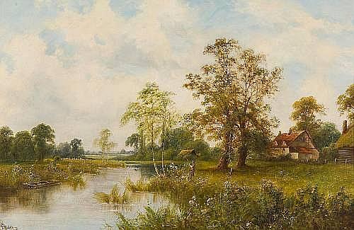 John Henry Boel (British, 19th/20th Century) River landscape