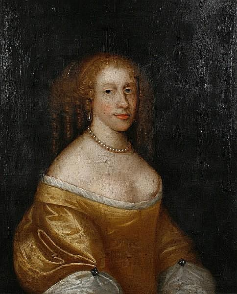 Circle of John Scougall (circa 1645-circa 1730 Prestonpans) Portrait of a lady, said to be Lady Craighall, half-length, in a silk yellow dress
