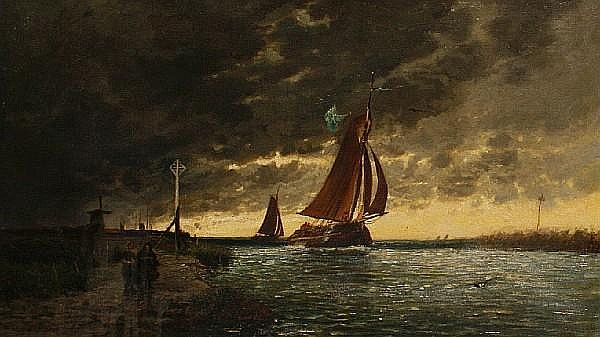 Auguste Paul Charles Anastasi (French, 1820-1889) Barge before a storm