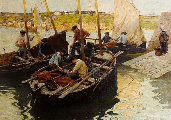 Terrick John Williams, RA (British, 1860-1936) Evening - Concarneau