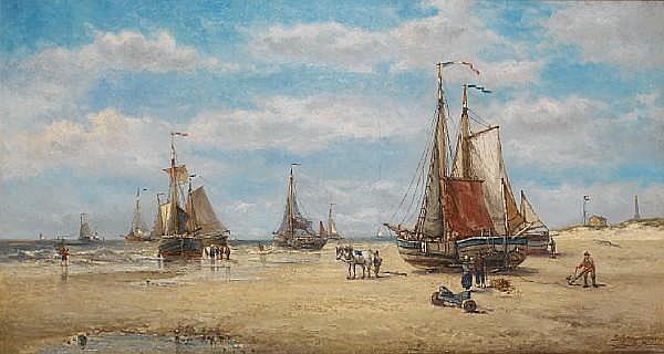 Auguste Henri Musin (Belgian, 1852-1920) Zeezicht te Scheveningen
